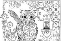 Printables / Kleurplaten, thema's uilen en katten. Printbare etiketten en boekenleggers.