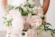 pink, white with blush bouquets