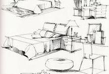 Referentes Graficos Arquitectura / dibujos y esquemas de espacios, mobiliario y edificios, todo para referencia la expresión arquitectónica.