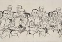 Emmett Till trial courtroom sketches and drawings / Following the murder of Emmett Till, Life magazine assigned Chicago artist Franklin McMahon to document the trial of Roy Bryant and J. W. Milam in Sumner, Mississippi. During September 19-23, 1955, McMahon sketched the courtroom proceedings. After the trial, McMahon traveled to New York to complete the more detailed ink-and-wash drawings. The sketches and drawings are now in the Chicago History Museum's collection.