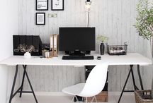WORKSPACE / Amazing work space stations for homes. Some great small space living designs sure to inspire interior lovers. Includes Scandinavian, modern boho and coastal eclectic study and work spaces.