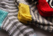knit socks, slippers and boot cuffs