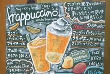 Starbucks Chalkboard Japan / The handwritten chalkboard by the partners of Starbucks coffee. Illustrations, messages. Before September, 2014