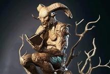 Centauros, Faunos, Sátiros, Minotauros, etc / Los centauros son criaturas muy inconstantes, grandes astrólogos y muy aficionados a la adivinación. Los sátiros son criaturas alegres y pícaras, aunque su carácter desenfadado y festivo puede volverse peligroso e incluso violento. Como criaturas dionisíacas, son amantes del vino, las mujeres y disfrutan de los placeres físicos. Bailan al son de las flautas (auloi), címbalos, castañuelas y gaitas. / by Miriam Galdiano Sánchez