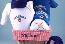 """Boy's Baby Gift Baskets / Our """"One of a Kind"""" unique baby boy gift baskets make the perfect celebration gift especially when you have your basket personalized. These gift baskets are designed with a theme with so much love and perfect to send to welcome the new baby boy into the family."""