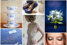Blue Wedding Theme / A mood board capturing all aspects of a wedding with a blue colour scheme: wedding stationery, bridal gowns, jewellery, bridesmaid dresses, groomswear, wedding flowers, table decorations and centrepieces, venue decor, lighting and candles, balloon arrangements and more...