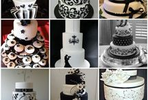 Mon's wedding Cake  / Black and white theme Simple Stylish Elegant