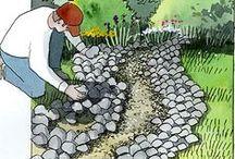 Garden Design Ideas / Pathways, Benches, Fountains, Fences, Plantings,