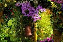 ✿⊱╮SECRET MAGICAL GARDENS,FLOWERS✿⊱╮ /     Wind chimes in your yard will serenade garden creatures — squirrels, fairies and angels.  Garden fairies come at dawn, Bless the flowers then they're gone. SECRET MAGICAL GARDENS,FLOWERS.....