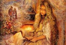 Josephine Wall English fantasy artist and sculptor(1947-Current) / Josephine Wall is a popular English fantasy artist and sculptor.From childhood Josephine has had a passion for light and colour, fantasy and visual story telling. The life of a painter was clearly her destiny! Enchanting and detailed images flow freely from her imagination in an endless cascade of ideas.  Born on 1947,in Farnham,in United Kingdom Education: Bournemouth and Poole College Artwork: Weep for the World, Leaf Child, Dryad and the Dragon, More...