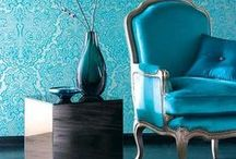 Cool Blues / Stylish blue hues in decor and fabrics