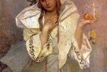 ** ALFONS  MUCHA ** / ** Alfons Mucha **  Narodil se 24.7.1860,Ivančice - Zemřel 14.7.1939 v Praze. Byl český malíř a desingér období Art nouveau. Byl otec spisovatele Jiřího Muchy.
