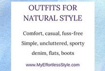 Natural Style Personality / Examples of Natural Personal Style; comfortable, hair is casual, unfussy, tousled, denim, khaki, cords, minimal makeup, fuss-free, loos fitting clothing, simple, uncluttered look, prefer jeans, full or long skirts, flat shoes, boots, sporty, tom-boyish