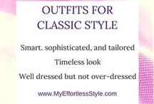 Classic Style Personality / Examples of the Classic Style, suits and twin sets, smart trousers, monochromatic, quality belts, pump, penny loafer, elegant, mature, refined, tailored style; fine quality jewelry