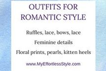 """Romantic Style Personality / The board describes and shows examples of the """"Romantic"""" Style Personality; frills, lace, tulle, flowy, pearls, perfume cashmere, angora, silk, floral prints, ribbons, bows, scarves, kitten heels, peep-toe pumps, ballerina flats"""