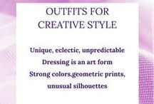 """Creative Style Personality / This board describes the """"Creative"""" Style Personality and shows examples; bold, modern costume jewelry, strong, contrasting colors, unique, eclectic, billowy lines, unusual silhouettes, exotic or geometric prints, brave and daring"""