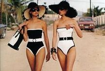 black & white lingerie and beachwear / lingerie and beach or swimwear in only black and white