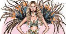 illustrations for lingerie and swimwear / gorgeous illustrations featuring lingerie and swim- or beachwear