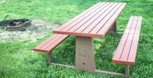 Custom Picnic Tables / Our picnic tables are powder coated to make sure that they will last for years to come.  They are great for parks and pavilions.  They have non-tipping feature to make them safe for all.