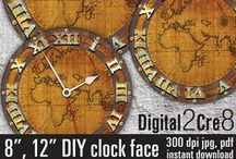 "Clock faces - printable / Digital images for you to download, print as many times as you want, and use for your crafting projects - t-shirts, bags, lampshades, pillows, for scrapbooking, for making paper goods or home decor.  Just print out and adhere to your base! Mechanisms and hands are sold at almost all craft supply stores.  Clock face sizes and file formats: - 12"" - JPG, PDF - 8"" - JPG, PDF"