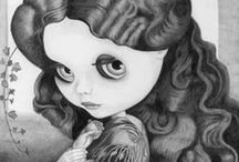 Blythe Drawings / Pencil drawings by Thomas DePorter of Blythe dolls in famous paintings.