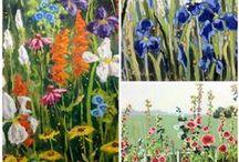 Linda Blondheim Flower Art / original art paintings flowers florals nature colorful tulips hollyhocks iris geraniums sunflowers poppies art canvas oil paint acrylics gardens