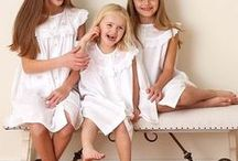 English Cotton Dresses for Little Girls / Little girls victorian inspired embroidered white cotton lounge wear.