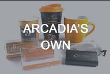 Arcadia's Own / Take a look at the promotional products we use in conjunction with our own marketing activities. Do you think any of these could work for you? All items are available for ordering. For more information, contact our sales team at sales@arcadiaonline.co.uk or visit our website at www.arcadiaonline.co.uk.