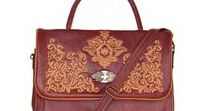 Leather and Tapestry Satchel Handbags