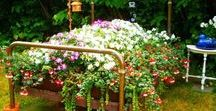 Upcycled Garden Inspiration / A collection of inspirational ideas for transforming gardens and planters with upcycled objects.