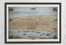 Bird's Eye View Maps / Antique Map Prints for Home Decor.