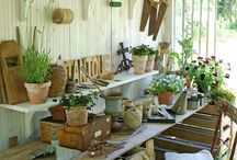 "✿ Gardening ~ potting benches ✿ / ""Green fingers are a fact, and a mystery only to the unpracticed. But green fingers are the extensions of a verdant heart."" ― Russell Page, The Education Of A Gardener"