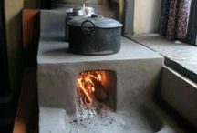 Home is where the hearth is... / The age old art of cooking over an open fire, or in an outside oven. Traditional ovens. Rustic, ethnic cooking.
