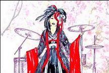 Visual Kei japonais / Ma fille étant une grande spécialiste, et professeur de japonais, elle m'a aidée et conseillée pour la création de ce Jeu des 7 familles, sur ce thème très spécifique, que la Jeunesse de tous les pays découvre. Sur Redbubble, objets imprimés sur ce sujet.