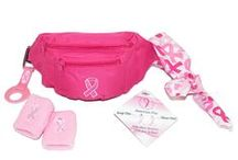 Think Pink / Many Breast Cancer Awareness items and other pink colored accessories.