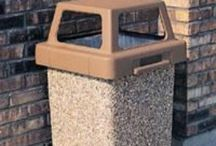 Concrete Trash Cans / Trash cans made of concrete, cement, and stone. Heavy theft proof garbage cans.
