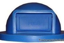 Trash Can Lids / Lids for trash cans and garbage cans. Dome top drum lids for 55 gallon drums in steel and plastic. Square and round trash can lids for concrete trash cans.