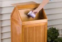 Wood Trash Cans & Hampers / Kitchen trash cans.