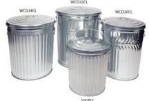 Galvanized Trash Cans / Steel galvanized garbage cans. Heavy duty for the ultimate in industrial trash cans or medium duty for commercial use and light duty for residential use.