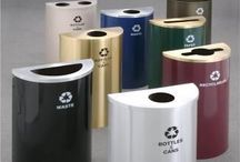 Half Round Trash Cans / Half moon, semi circular, and half round trash cans. Great space saving design when space is limited.