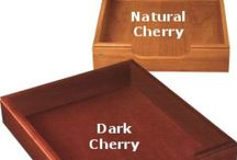 Wood Office Products / Wood desk and paper trays, pencil holders, desk pads, wastebaskets, and card file boxes made from solid Oak, Walnut, Mahogany, Natural Cherry, and Dark Seasoned Cherry wood.