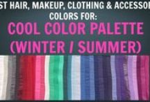 Cool Summer / Cool Winter Colour Palette - Colour Analysis / Color Analysis / A few pics of outfits and hair colours in the Cool seasonal colour palette. Cool colours are midway between the winter and summer palettes.   Notes: - for outfit pictures, please ignore hair colours as these have not been assessed for optimal hair colour alignment with palette. - for hair colour pictures, please ignore outfit colours and skin colouring of models as these have not been assessed for alignment in palette.