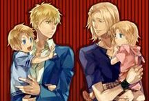 Hetalia: F.A.C.E. Family / This board consists of France, America, Canada, and England.