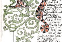 Kalligraphie und Buchkunst / Von der illuminierten Handschrift zum gedruckten Buchkunstwerk, auch eigene kalligraphische Versuche sind dabei