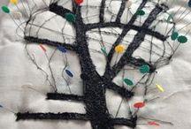Arbolgrassy. Textile map / Proyecto textil Árbolgrassy. Elaboración final de un objeto textil del que se hizo un grabado en relieve (gofrado) que  la joyería Grassy de Madrid utilizó como  felicitación de Navidad 2015. El grabado fue hecho por el grupo Tres+1 en el taller de Manolo Gordillo de Madrid.  Más información en el blog: https://beldabelda.wordpress.com/category/arbolgrassy/