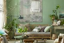 Green Curtains/Wallpapers / Beautiful examples of the green curtains and wallpapers offered at Lenleys Interiors Style Studio, Kent.