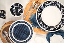 Blue & White by Fitz and Floyd / Entertaining with Rustic Charm. Bristol brings home dinnerware, serveware & decor in traditional style with classic blue and white color palette.