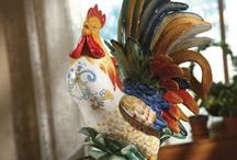 Rooster Decor by Fitz and Floyd / Rustic, Country or with a Modern twist, Rooster figurines and accessories will wake up any room with its bursts of color, detail and flowering botanicals.