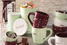 Hershey's - Love & Chocolate / Hershey's Brand by Fitz and Floyd. Assortment of Mugs, Candy Bowls, Tidbit Dishes & Canisters. KISSES go together like love and chocolate!