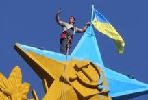Stalin Tower Painted In Ukrainian Blue And Yellow / ..
